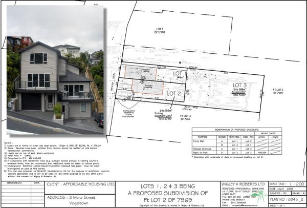 This project is a small infill subdivision in an intensively developed area of Brooklyn. This type of project is the firm's speciality where careful design is needed to fit sites into an existing residential environment. A detailed Topographical Survey was needed to assist the architect with the design of the new dwellings and to ensure compliance with Wellington City Council's District Plan rules. In a typical infill subdivision such as this Wigley & Roberts manage the whole subdivision process from start to finish including the initial Topographical Survey, Scheme Plan Design, Resource Consent Application, design of services, preparation of service Tender documents, As-Built Surveys, obtaining final certification from Council and preparation of the Land Transfer Plans.